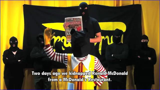 RONALD MCDONALD KIDNAPPED AND THREATENED WITH BEHEADING BY HOODED ECO-LEFTISTS IN HELSINKI ...