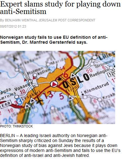 DR. GERSTENFELD IN JPOST ARTICLE SLAMS FAULTY NORWEGIAN ...