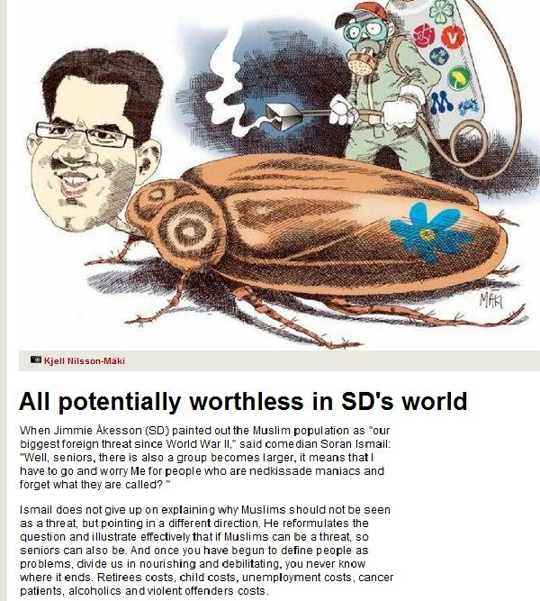 Sweden democrats likened to cockroaches 25.11.2012