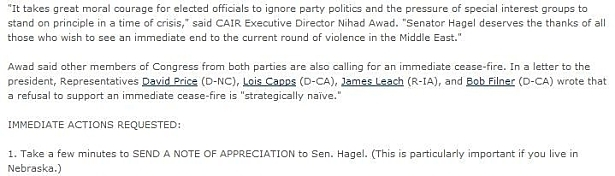 CAIR FOR HAGEL