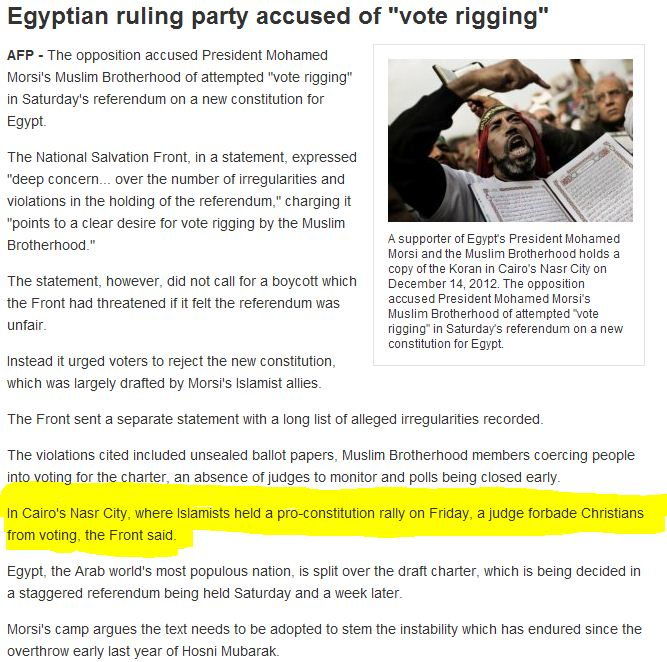 EGYPTIAN CONSTITUTION REFERENDUM IRREGULARITIES 16.12.2012