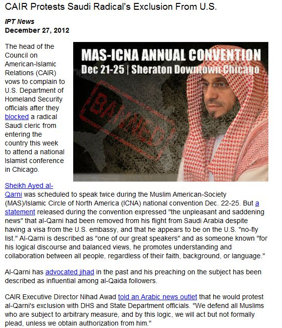 cair upset fundamentalist saudi cleric not allowed into the us 28.12.2012