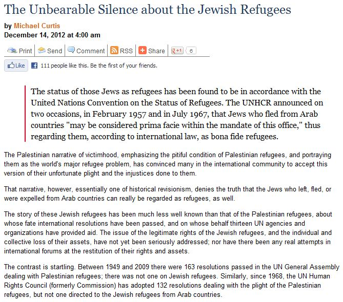 jewish refugees silence gatestone article 15.12.2012