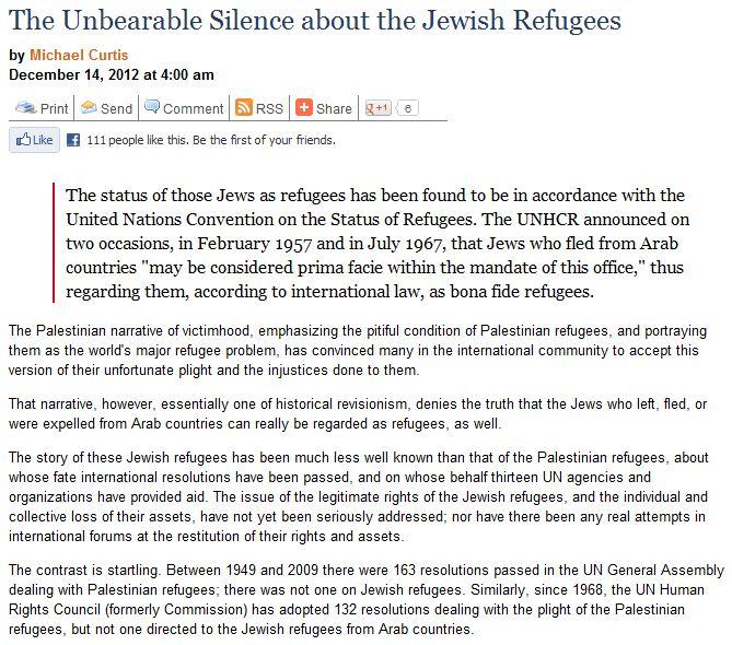 jewish refugees silence gatestone article 15.12.2012