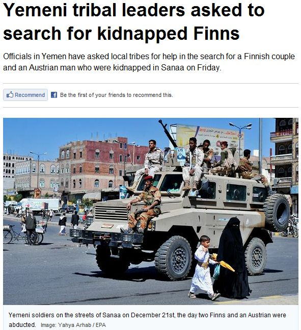 yemeni tribal leaders asked to search for Finns 27.12.2012