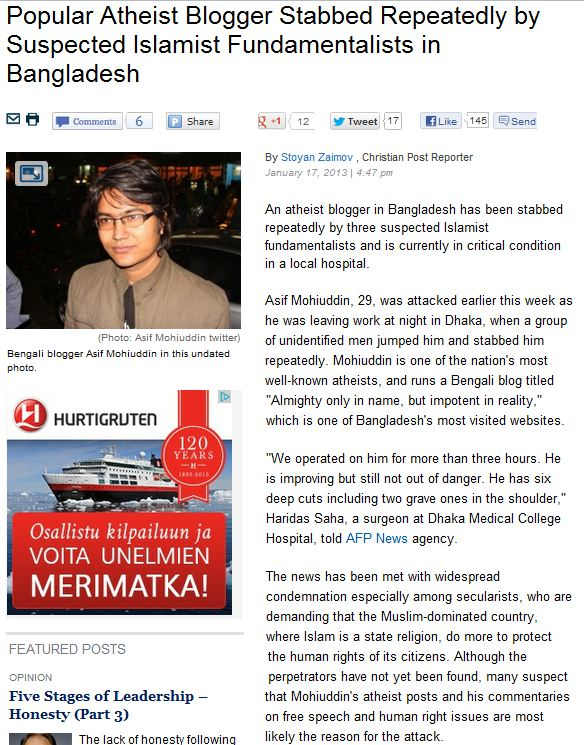 BANGLADESHI ATHEIST STABBED REPEATEDLY BY FUNDAMENTALIST MUSLIMS 22.1.2013