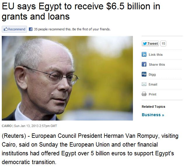 EU to hand over 6.5 billion euros to muslim brotherhood egypt 14.1.2013