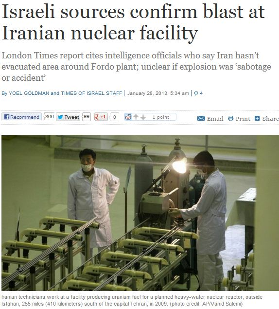 ISRAELI SOURCES CONFIRM BLAST AT IRANIAN FACILITY 28.1.2013