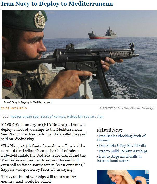 Iranian navy to deploy to mediterranaen 16.1.2013