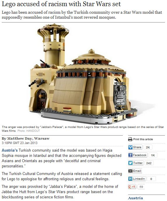 LEGO ACCUSED OF RACISM OVER STAR WARS TOY 24.1.2013