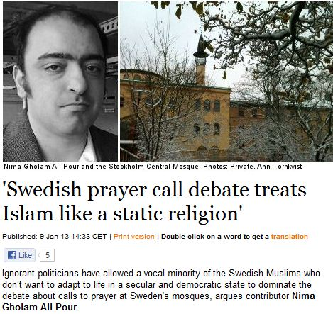 PRAYER DEBATE IN SWEDEN 10.1.2013