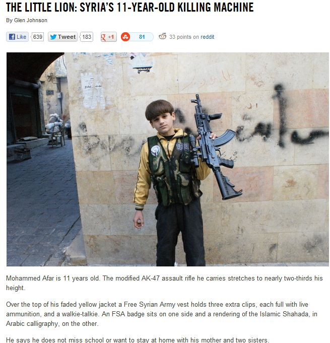 Syria rebels use of children 11.1.2013
