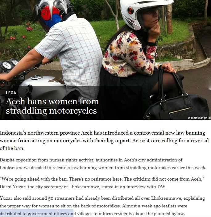 aceh bans females from riding normally on motorcycles 14.1.2013
