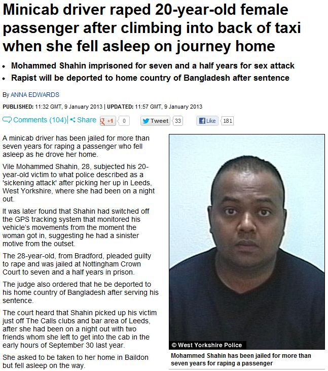 bangladeshi taxi driver rapes customer gets 7.5 years for crime 9.1.2013