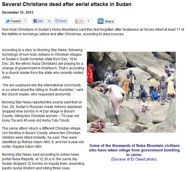christians dead from areal bombarment in sudan 2.1.2013