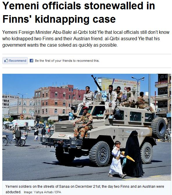 finns kidnapping case stonewalled in yemen 13.1.2013