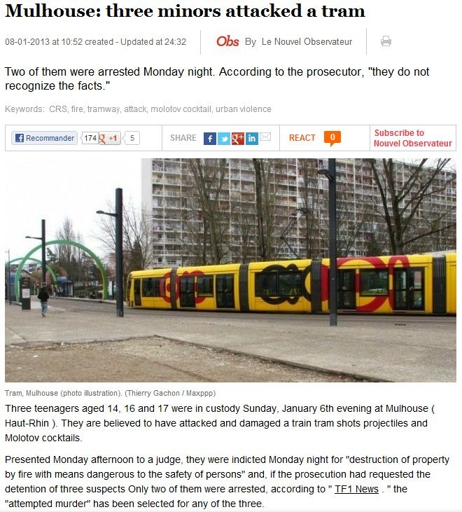 france-three minors attak a tram with weapons and bombs 11.1.2013