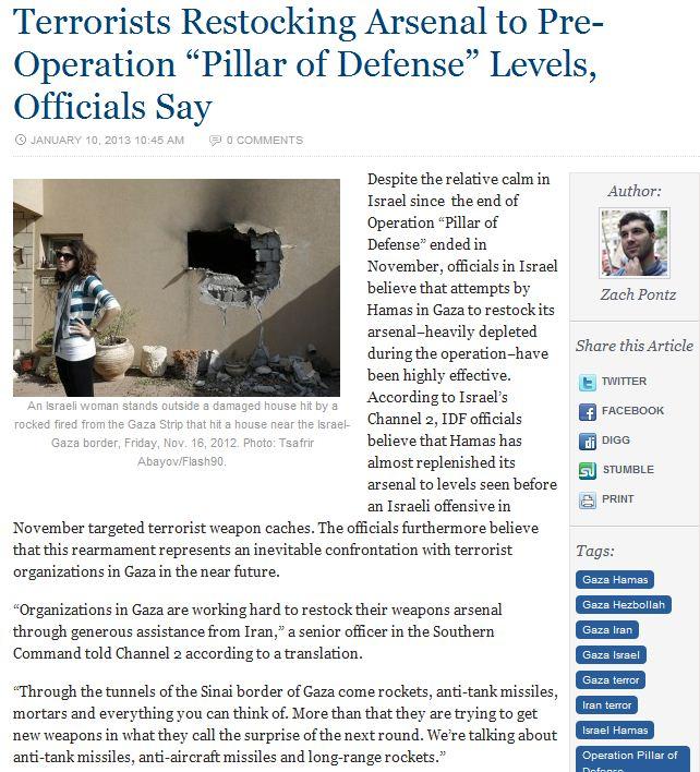 hamas terrorist restocking spent rocket arsenal 11.1.2013