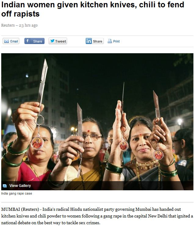 indian women given knive and chili powder to fend off rapists 26.1.2013