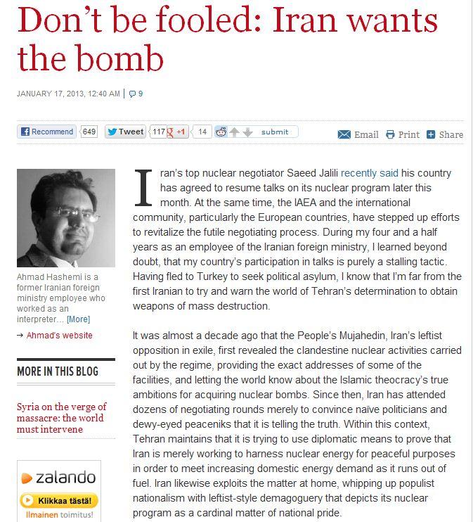 iran really does want the bomb 20.1.2013