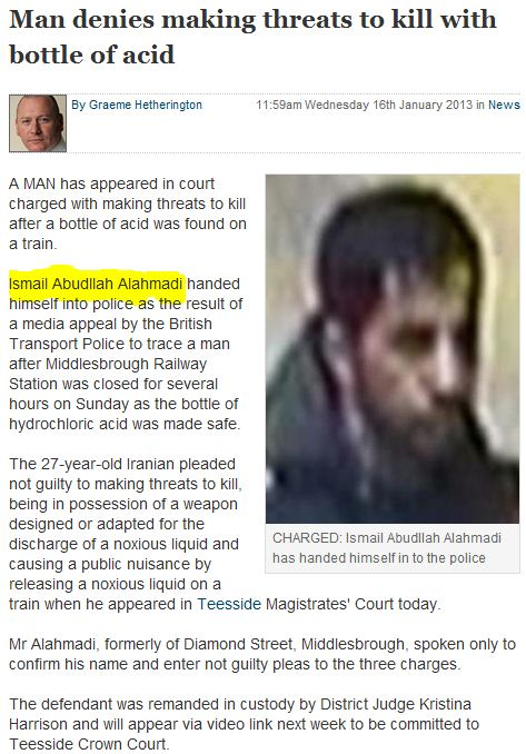iranian denies threat to kill with acid bottle 18.1.2013