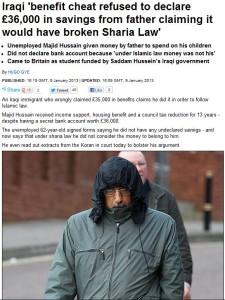 iraqi benefit cheat loyal to sharia law not uk laws 10.1.2013