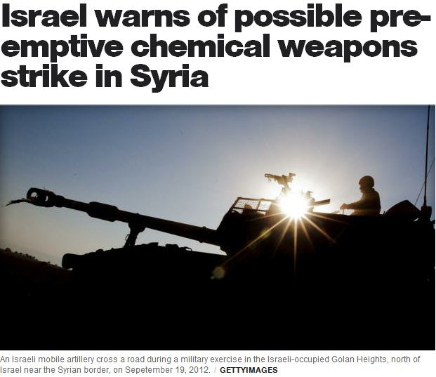 israel warns of pre-emptive stike on syrian wmd's 28.1.2013