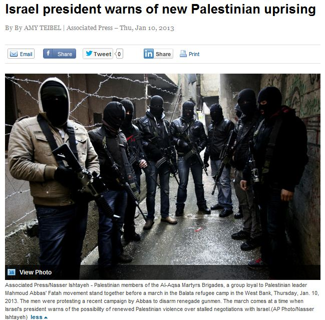 israel's peres warns of 3ed intifada 12.1.2013