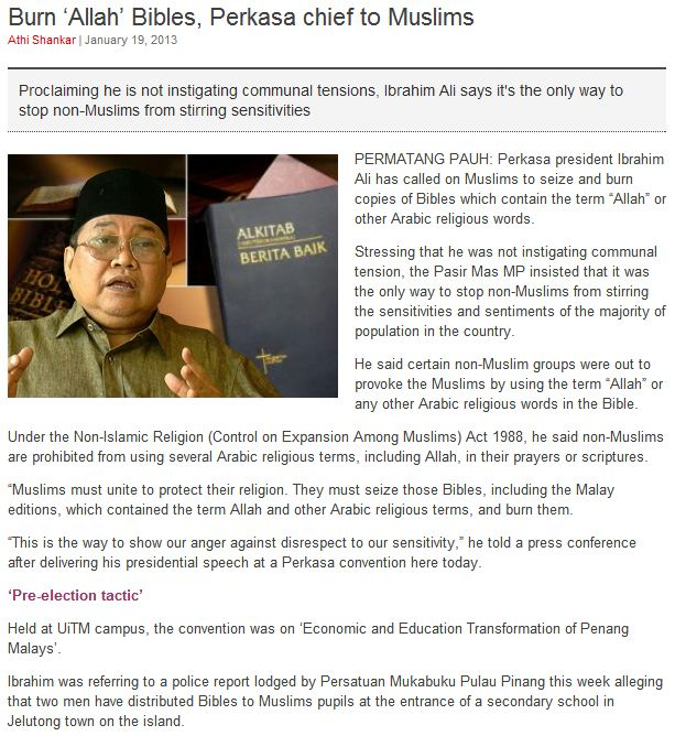 malaysian official says state should burn bibles with allah in them 20.1.2013