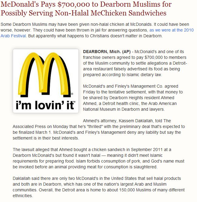 mcdonalds payout to muslims 22.1.2013