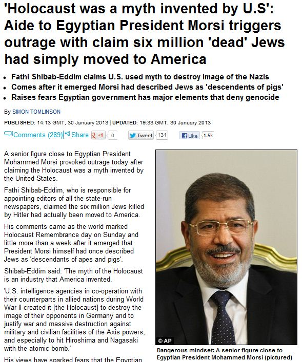 morsi aid holocaust was a myth 30.1.2013