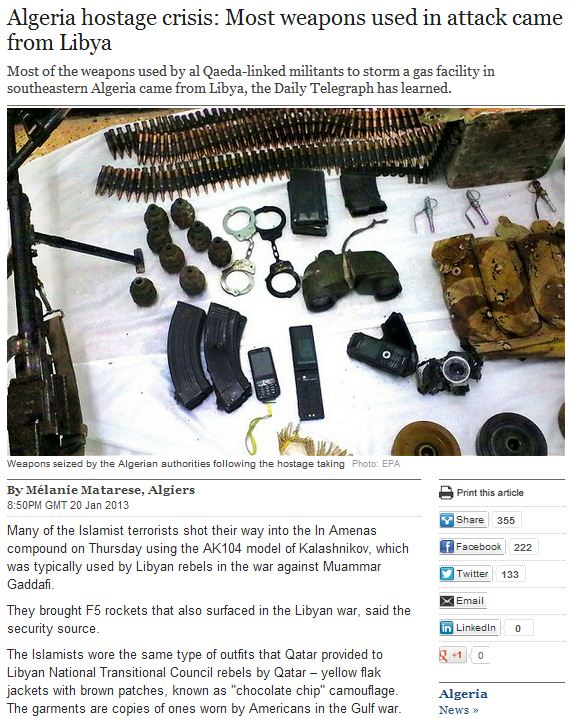 most weapons in algeria gas plant attack came form libya 21.1.2013