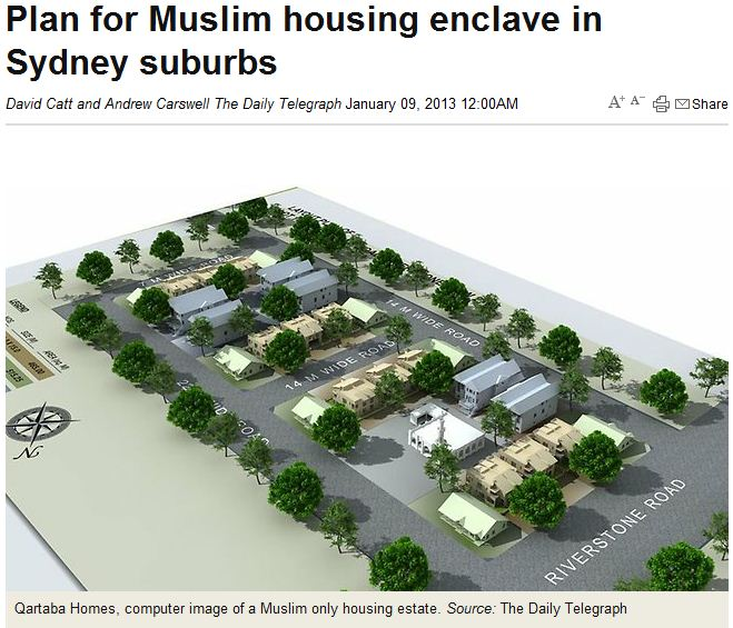muslim only enclave planned for Sydney suburbs 8.1.2013