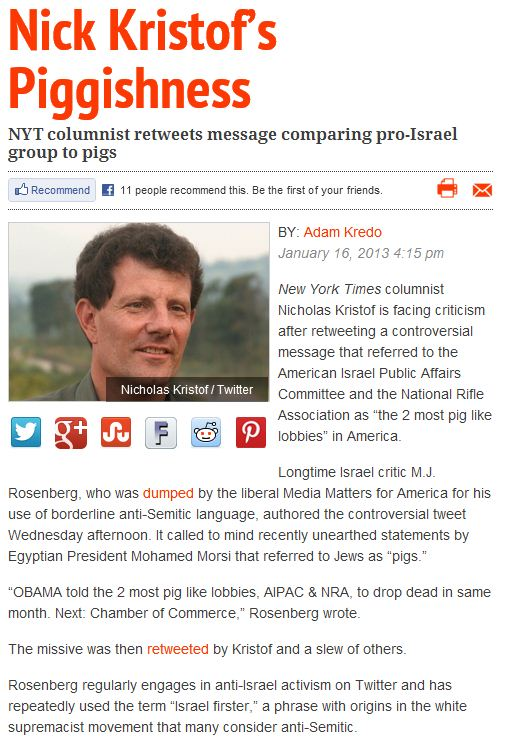 nyt kristoff's jews are pigs comment 16.1.2013