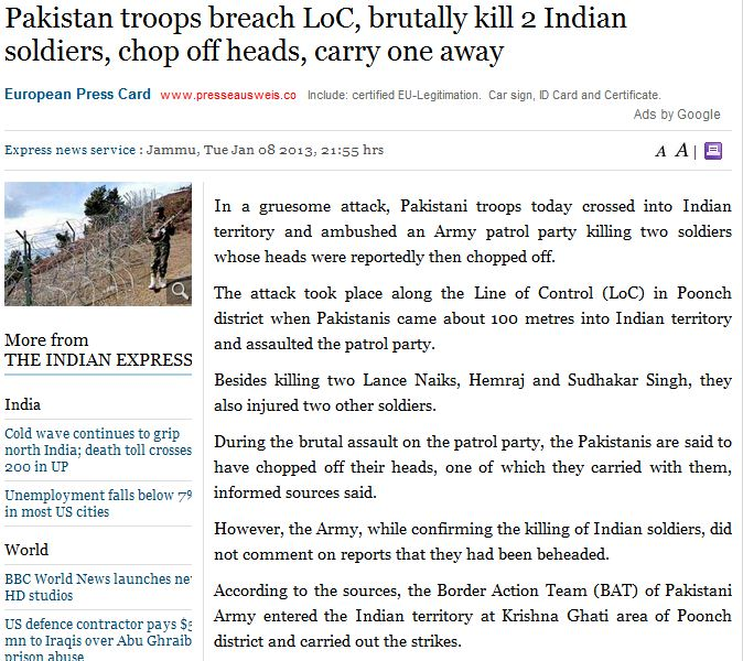 paki troops behead two indians 8.1.2013
