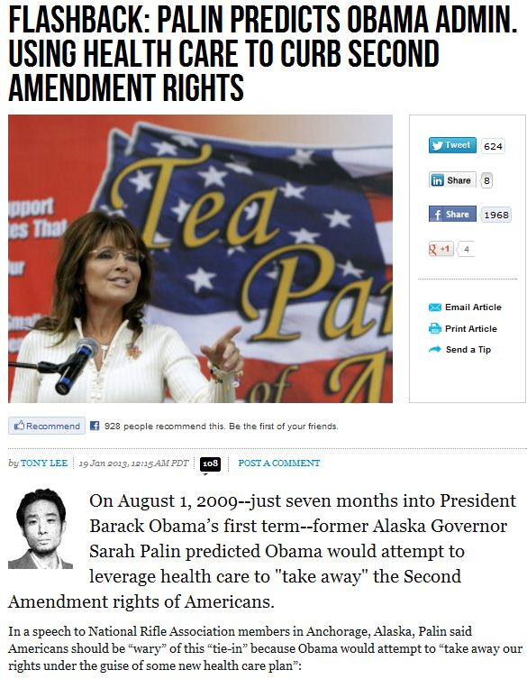 palin predicted obama use of obamacare for gun control 20.1.2013