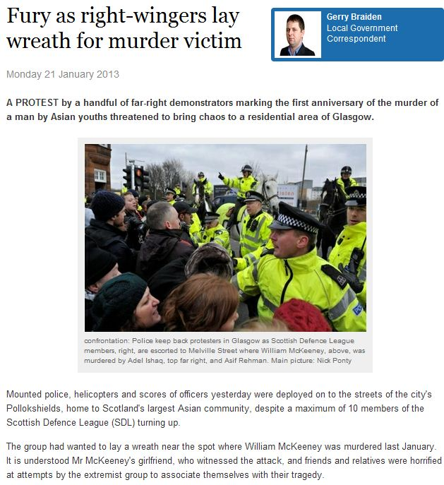 scottish defense league tries to lay flowers to honor victim slain by muslim 22.1.2013