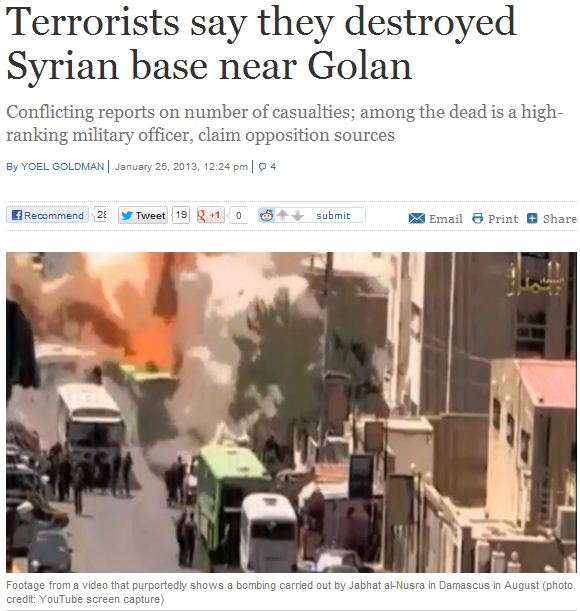 syrian terrorist groupd say they've destroyed base near golan 26.11.2013