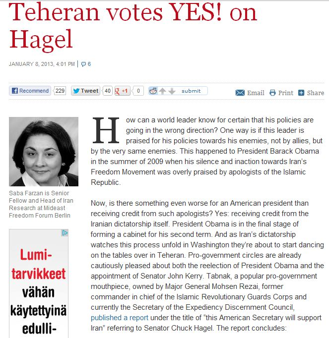 tehran votes yes on hagel 11.1.2013