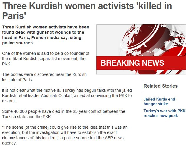 three kurd female activists murdered in paris 10.1.2013