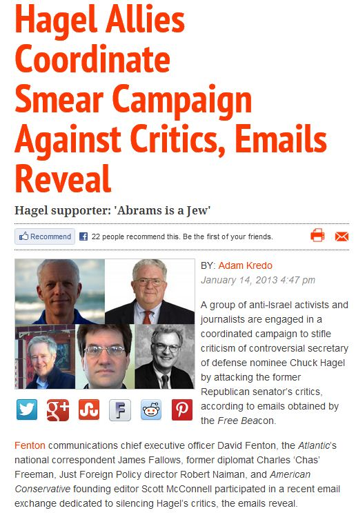 washington free beacon scoop, anti-israel email group forge smear plan against hagel critics 15.1.2013