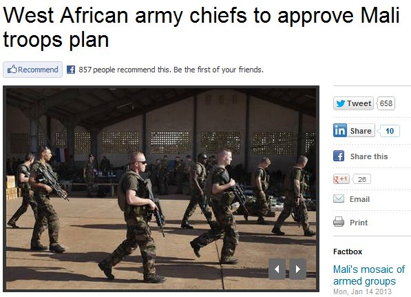 west african troops to mali 15.1.2013