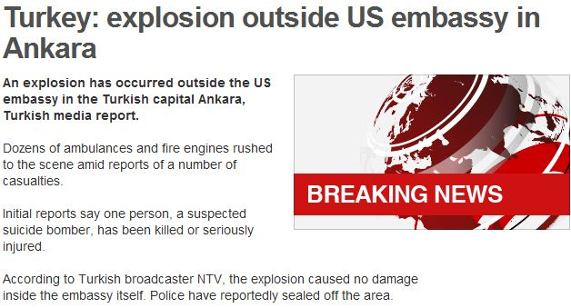 EXPLOSION OUTSIDE US EMBASSY IN ANKARA TURKEY 1.2.2013