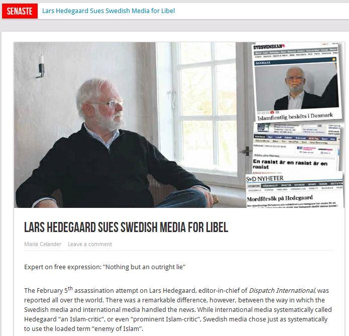 Lars Hedegaard sues Swedish media 15.2.2013