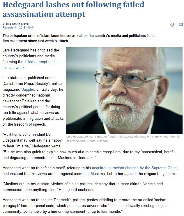Lars hedegaard condemns fellow journalists for failure in exposing muslim immigration 12.2.2013