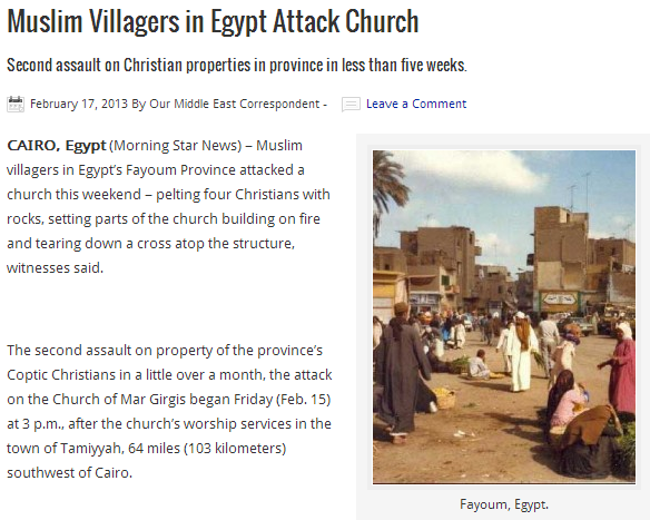 MUSLIMS ATTACK CHURCH NEAR CAIRO 18.2.2013
