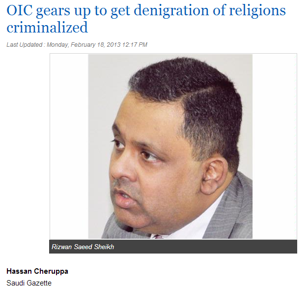 OIC gears up to get defamation of religion criminalized  18.2.2013