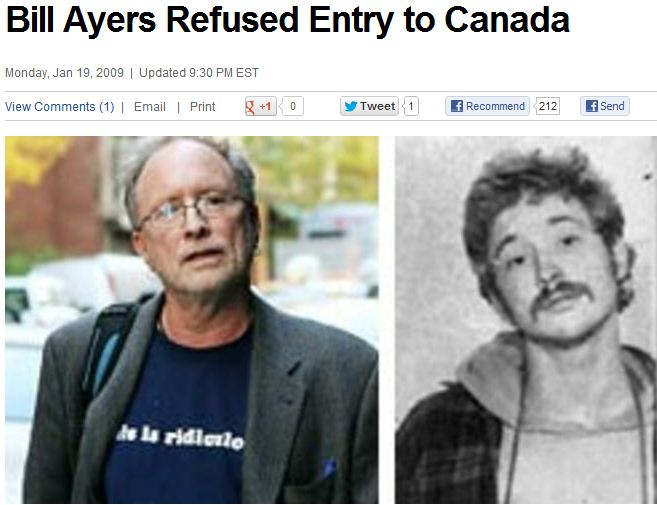 bill ayers refused entry into canada 9.2.2013