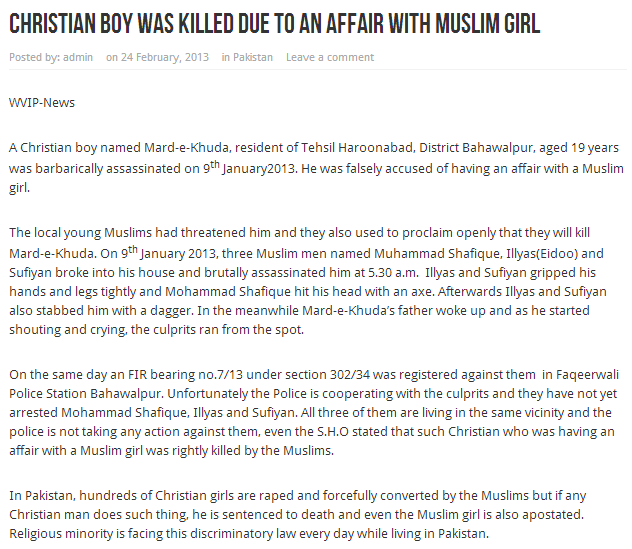 christian boy murdered for affair with muslim girl 26.2.2013