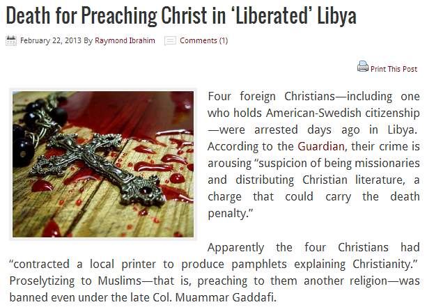 christians arrested in libya for prosyltizing 22.2.2013